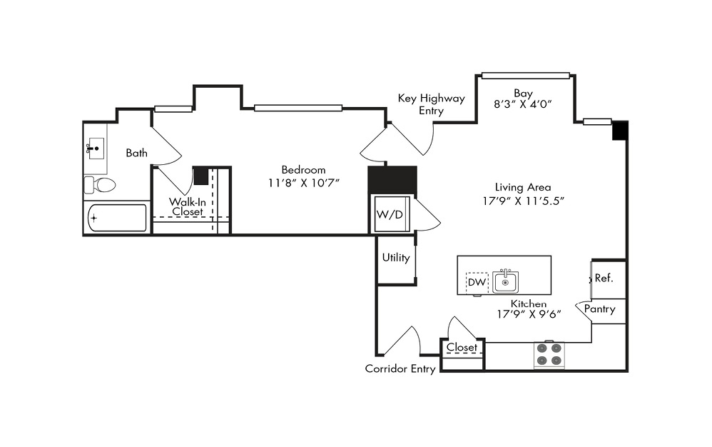 A14 - 1 bedroom floorplan layout with 1 bath and 829 square feet.