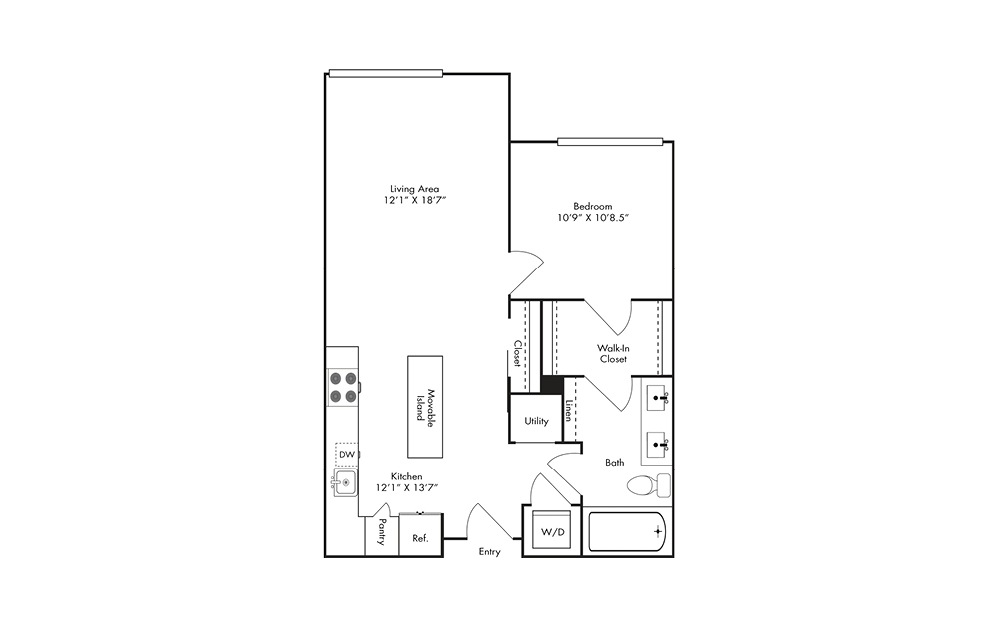 A8A - 1 bedroom floorplan layout with 1 bath and 764 square feet.