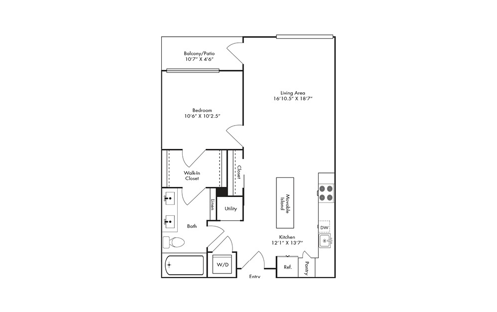 A8C - 1 bedroom floorplan layout with 1 bath and 764 square feet.