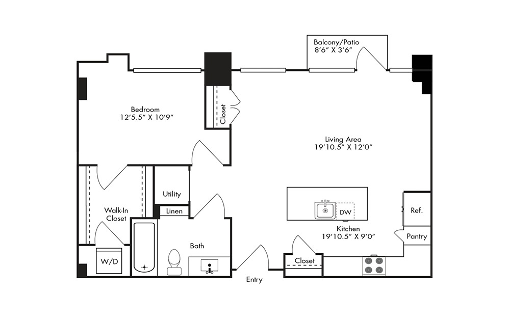 A12A - 1 bedroom floorplan layout with 1 bath and 820 square feet.