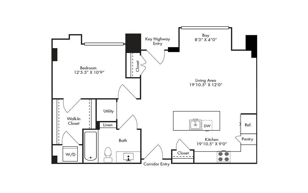 A12B - 1 bedroom floorplan layout with 1 bath and 820 square feet.