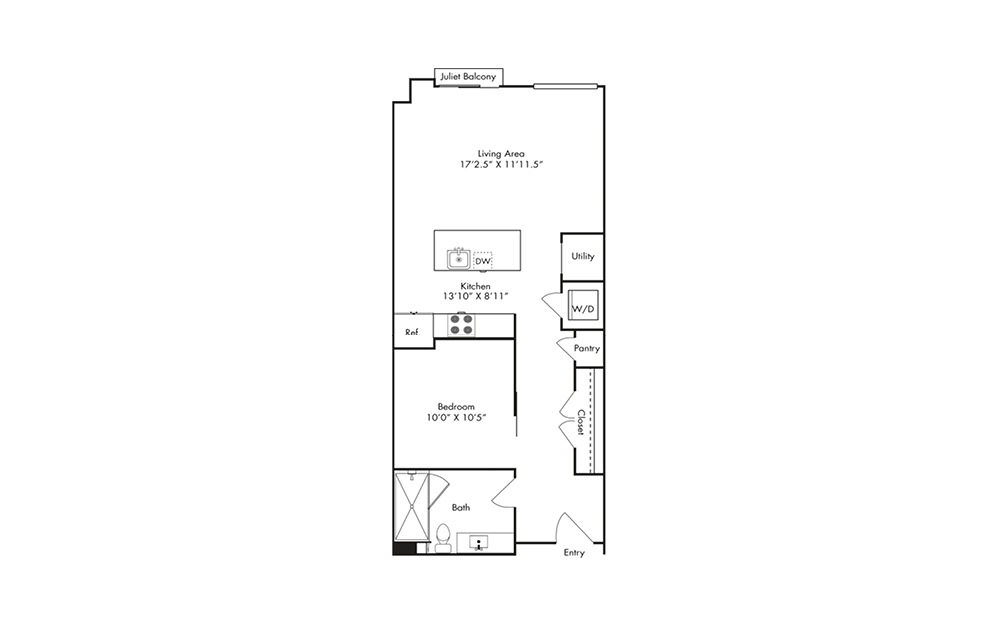 S2 - Studio floorplan layout with 1 bath and 713 square feet.