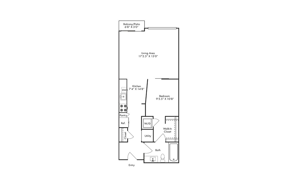 S3 - Studio floorplan layout with 1 bath and 726 square feet.