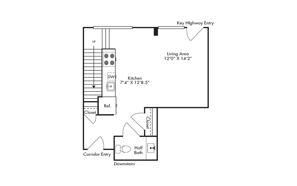 TH1 - 1 bedroom floorplan layout with 1.5 bath and 901 square feet. (Floor 1)